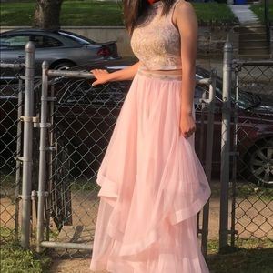 Windsor 2 piece baby pink and gold formal dress